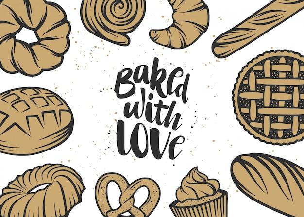 Mão desenhada tipografia design com pão, pastelaria
