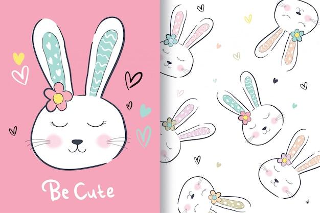 Mão desenhada um coelho fofo com padrão editável