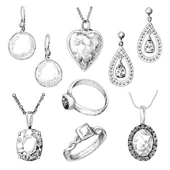 Mão desenhada um conjunto de joias diferentes.
