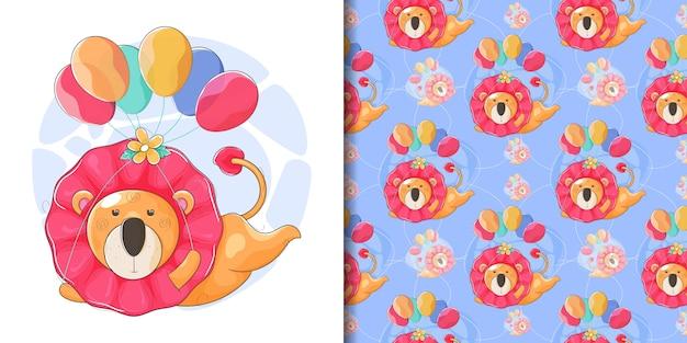 Mão desenhada um lindo leão voando com balões