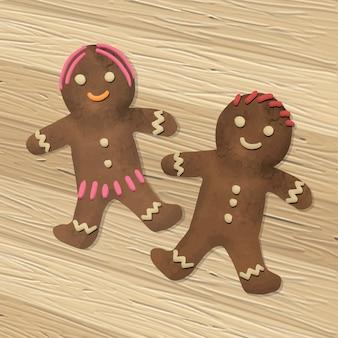 Mão desenhada um par de biscoitos de gengibre