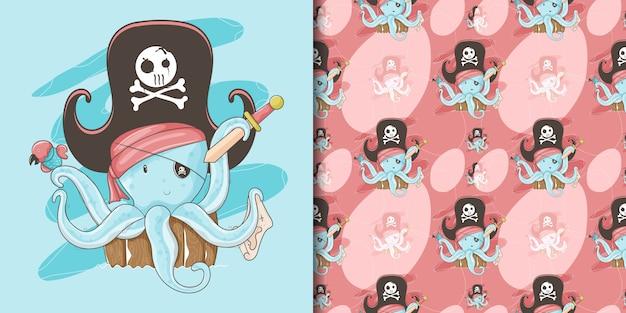 Mão desenhada um polvo bonito com um costume de pirata