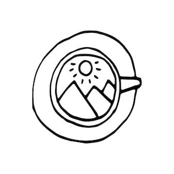 Mão desenhada uma xícara de café, chocolate, cacau, americano ou cappuccino. ilustração do doodle