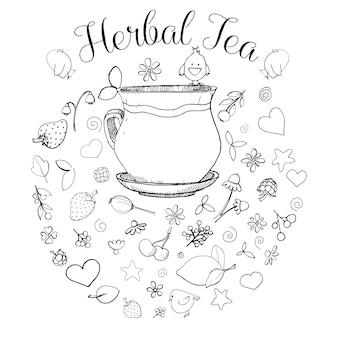 Mão desenhada uma xícara, diferentes ervas, plantas, frutas e pássaros. a inscrição é um chá de ervas. ilustração em vetor de um estilo de desenho.