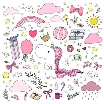 Mão desenhada unicórnio e elementos felizes no estilo doodle.