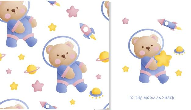 Mão desenhada ursinho no padrão sem emenda de galáxia e cartão de felicitações.