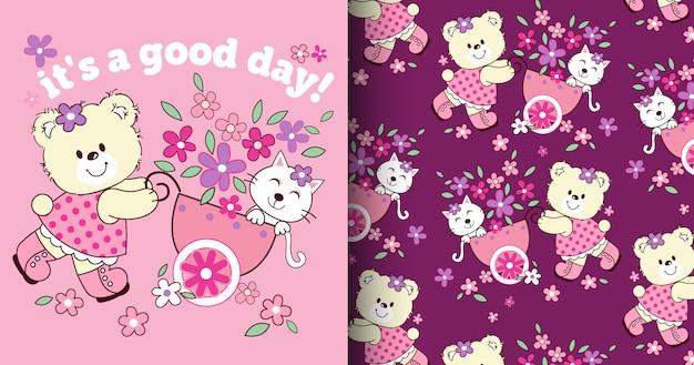 Mão desenhada urso bonito & padrão de gato e cartão