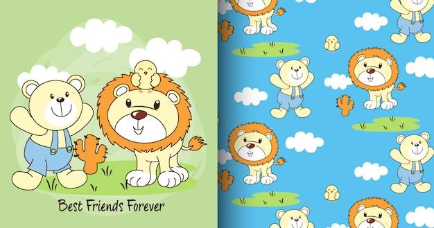 Mão desenhada urso bonito & padrão de leão e cartão
