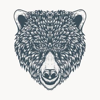 Mão desenhada urso cabeça ilustração