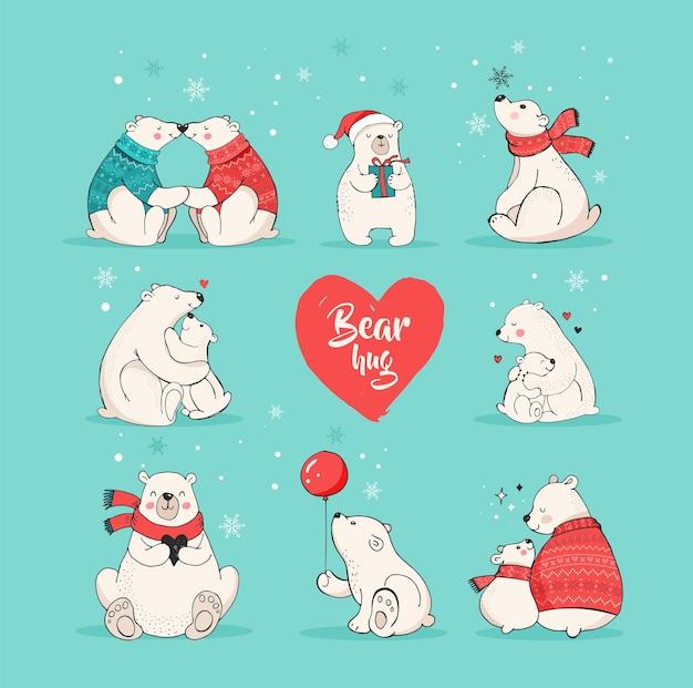 Mão desenhada urso polar de natal, conjunto de urso bonito, ursos mãe e bebê, alguns ursos.