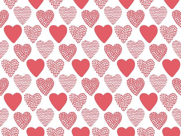 Mão desenhada valentine corações sem costura padrão.