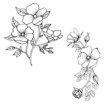 Mão desenhada valentine floral collection