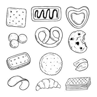 Mão desenhada vários tipos de biscoitos saborosos
