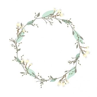 Mão desenhada vector frame redondo. guirlanda floral com folhas, vintage e estilos rústicos.