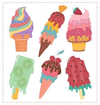Mão desenhada vector plana doce sorvete pastel derretido coleção verão
