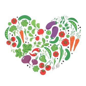Mão desenhada vegetais no coração comida vegana orgânica e comida saudável