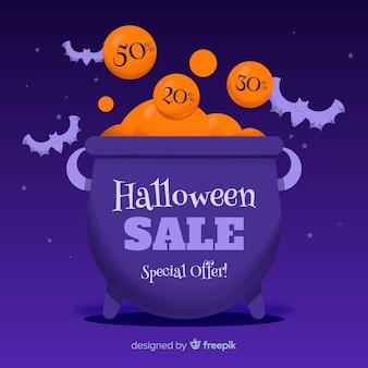 Mão desenhada venda de halloween com caldeirão cheio de dinheiro