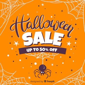 Mão desenhada venda de halloween com teias de aranha
