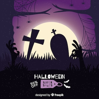 Mão desenhada venda de halloween em um cemitério