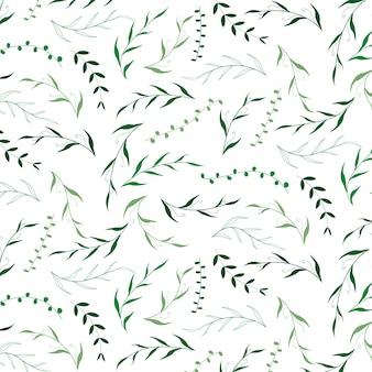 Mão desenhada verde deixar padrão de flores