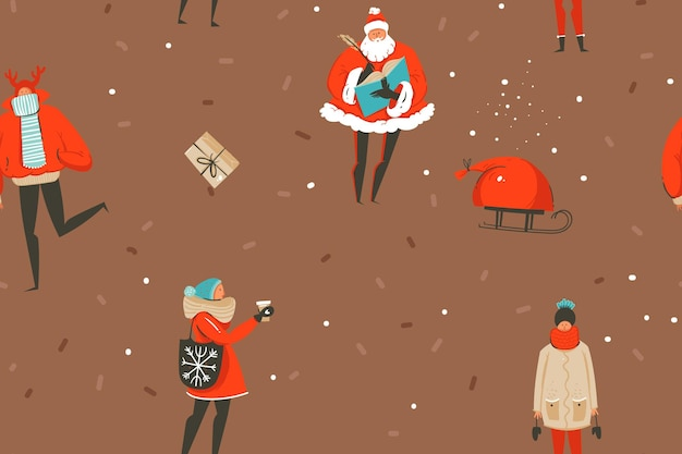 Mão desenhada vetor abstrato diversão feliz natal e feliz ano novo tempo cartoon rústico festivo padrão sem emenda com ilustrações bonitos de pessoas de natal e caixas de presente isoladas em fundo marrom.