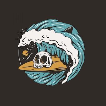 Mão desenhada, vetor de crânio de surf
