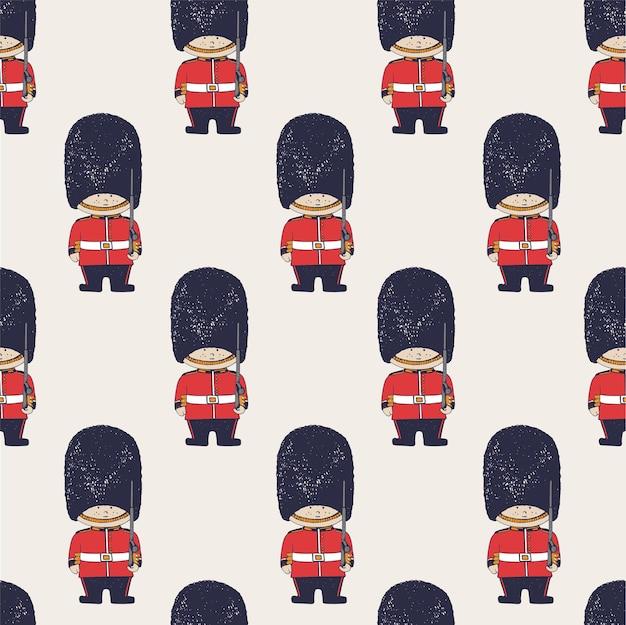 Mão desenhada vetor padrão sem emenda de soldados do exército britânico queens guard londoncan