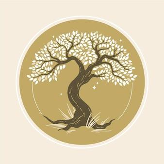 Mão desenhada vida na árvore com flores