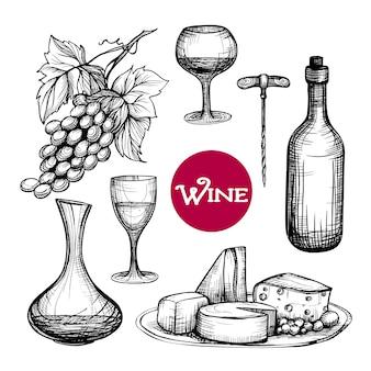 Mão desenhada vinho conjunto