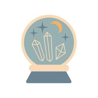 Mão desenhada vintage bola de cristal mágica futura com gemas, lua, estrelas isoladas no fundo branco. ilustração em vetor boho chic. design para cartaz, impressão, cartão