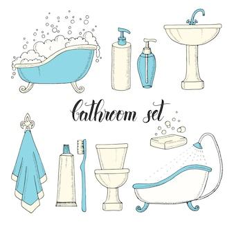 Mão desenhada vintage conjunto de objetos do banheiro.