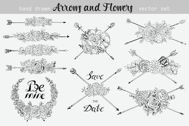 Mão desenhada vintage floral e elementos de seta. conjunto de flores