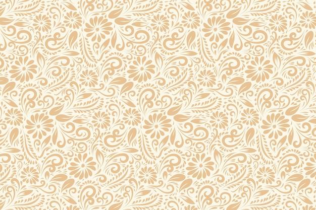 Mão desenhada vintage floral padrão
