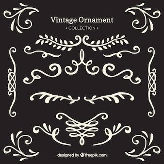 Mão desenhada vintage ornamento com estilo de quadro-negro