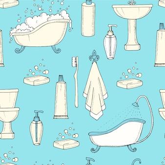 Mão desenhada vintage padrão sem emenda com elementos de banheira, sanita, lavatório e banheiro