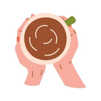 Mão desenhada xícara de café ou chá nas mãos com manicure de unhas vermelhas