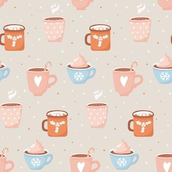 Mão desenhada xícaras com padrão sem emenda de cacau e marshmallows.