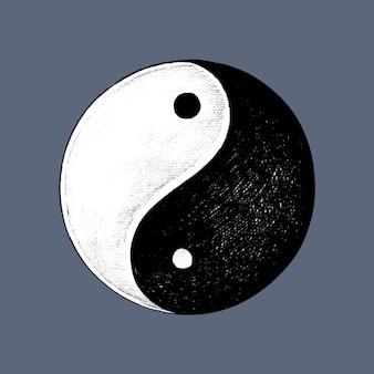 Mão desenhada yin e yang símbolo