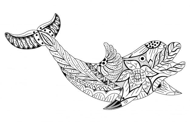 Mão desenhada zentangle estilizado cartoon golfinho