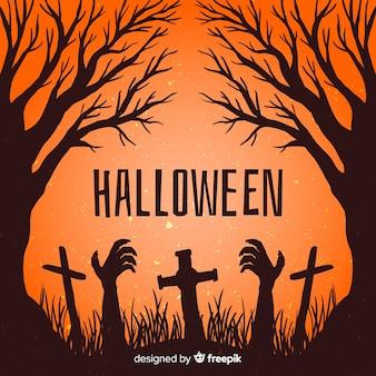 Mão desenhada zumbi de quadro de halloween em um cemitério