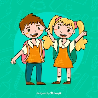 Mão desenhadas crianças de volta à escola