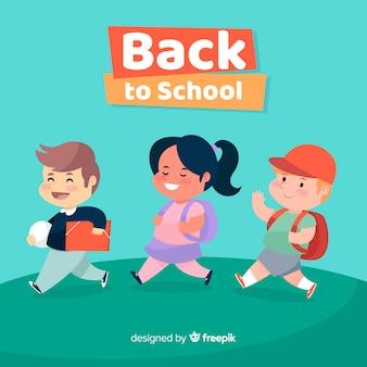 Mão desenhadas crianças de volta ao fundo da escola