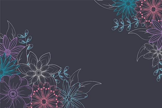 Mão desenhadas flores sobre fundo de quadro-negro