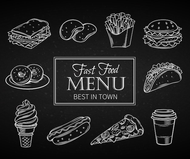 Mão desenhadas ícones fast-food.