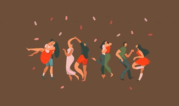 Mão desenhadas ilustrações com dança casais pessoas juntas isoladas em fundo colorido