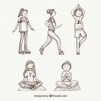 Mão desenhadas mulheres fazendo yoga