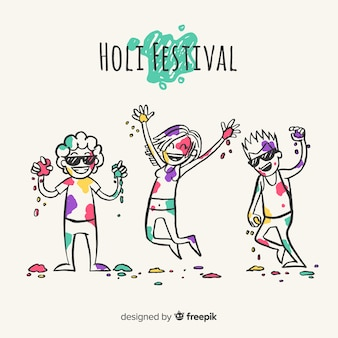 Mão desenhadas pessoas celebrando o festival de holi
