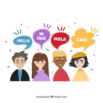 Mão desenhadas pessoas com bolhas do discurso em diferentes idiomas