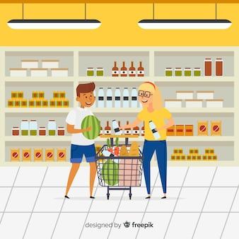 Mão desenhadas pessoas comprando no fundo do supermercado