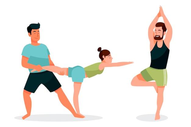 Mão desenhadas pessoas fazendo yoga